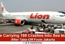 Lion Air plane crashed near Java Sea with 188 Passengers