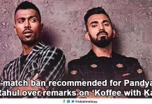 2-match ban recommended for Pandya over remark on 'Koffee wid Karan'