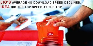 Jio average 4G download speed declined