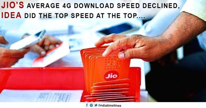 Jio average 4G download speed declined