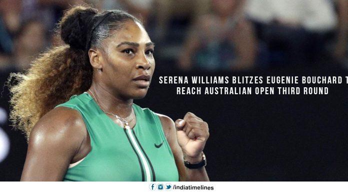 Serena Blitzes Eugenie Bouchard to reach the AUS Open 3rd Round