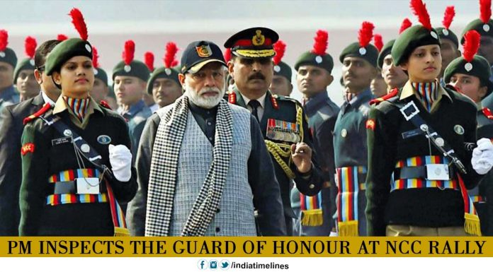 PM inspects the guard of honour at NCC rally