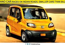 Tata Nano car races on Indian roads