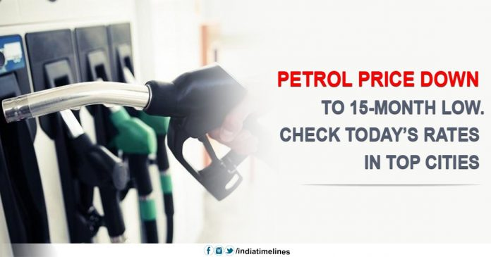 Petrol price down to 15-month low