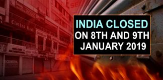 India closed on 8th and 9th January 2019