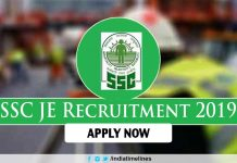 SSC JE 2019 recruitment