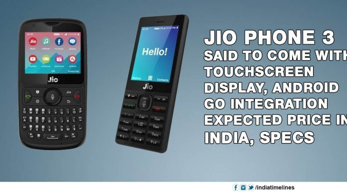 Jio Phone 3 said to come with a touchscreen display