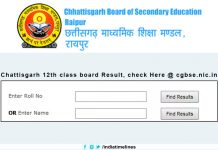 CGBSE Board 12th Result 2019