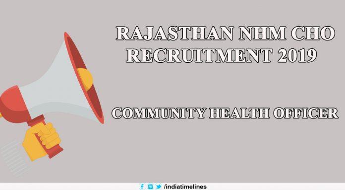 Rajasthan NHM CHO Recruitment 2019