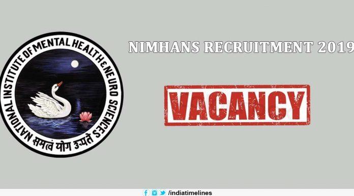 NIMHANS Nursing Officer Recruitment 2019