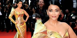 Aishwarya Rai Bachchan Appearing In the Golden Mermaid Gown