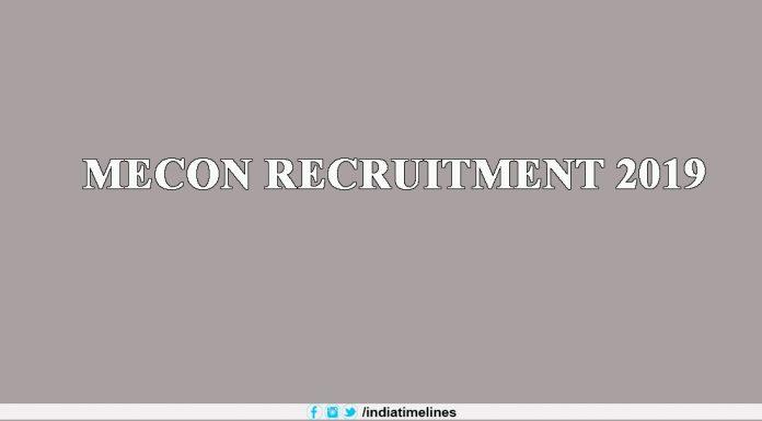 MECON Recruitment 2019