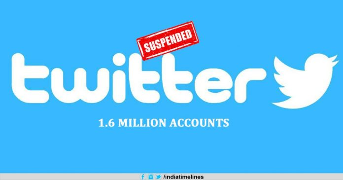 Twitter suspends over 1.6 million accounts