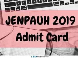WB JENPAUH Admit Card 2019 Download