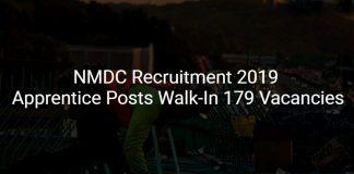 NMDC Recruitment 2019 Walk-In
