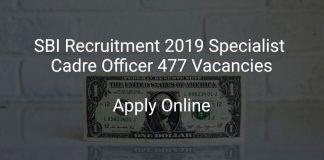 SBI SO Recruitment 2019 Apply Online