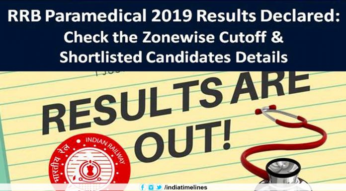 RRB Paramedical 2019 Result Announced