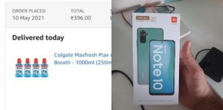 Had ordered mouthwash and delivered smartphone Redmi Note 10