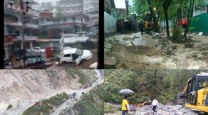 Devastation due to cloudburst in Bhagsu Nag of Dharamsala