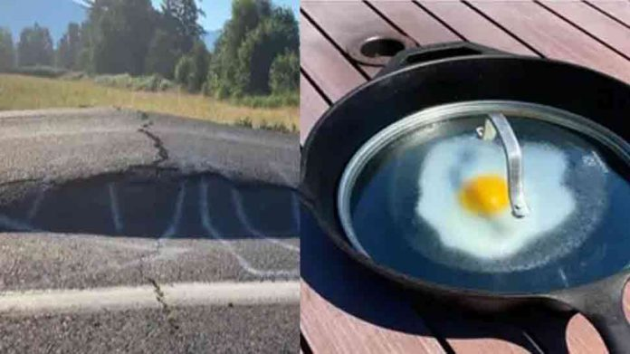 Canada: Here the heat broke all the records, there was a crack on the road