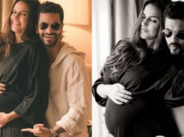 Neha Dhupia gets pregnant again - baby bump picture shared with husband and baby girl
